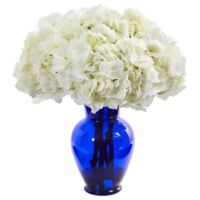 Nearly Natural 21-Inch Artificial White Hydrangea Arrangement in Vase