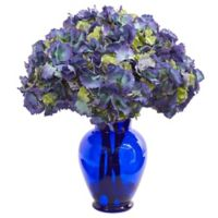 Nearly Natural 21-Inch Artificial Blue Hydrangea Arrangement in Vase