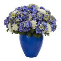 Nearly Natural 27-Inch Artificial Hydrangea Plant in Blue/White in Blue Ceramic Planter