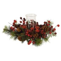 Nearly Natural 8.5-Inch Holiday Candleabrum Centerpiece