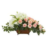 Nearly Natural 29-Inch Artificial Hydrangea and Rose Arrangement in Metal Planter