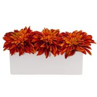 Nearly Natural 6-Inch Artificial Orange Dahlia Arrangement in Ceramic Planter