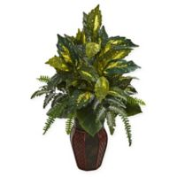Nearly Natural Artificial Mixed Variegated Greens Arrangement in Planter