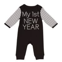 """Baby Starters® Size 3M """"My First New Year"""" Long Sleeve Coverall in Black/White"""
