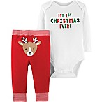 "carter's® Size 3M 2-Piece ""First Christmas"" Bodysuit and Pant Set in Red"