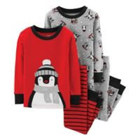 carter's® Size 12M 4-Piece Penguin Shirt and Pant Pajama Set in Red