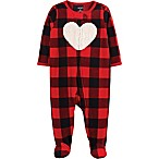 carter's® Size 3M Zip-Front Buffalo Check Heart Fleece Sleep & Play Footie in Red