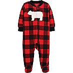 carter's® Size 3M Zip-Front Buffalo Check Fleece Sleep & Play Footie in Red