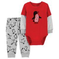 carter's® Newborn 2-Piece Penguin Bodysuit and Pant Set in Red/Grey