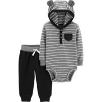 carter's® Size 12M 2-Piece Striped Hooded Henley Bodysuit and Pant Set in Grey/Black