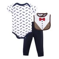Hudson Baby® Size 6-9M 3-Piece Bow Tie Bodysuit, Pant, and Bib Set in Black