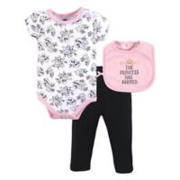Hudson Baby® Size 6-9M 3-Piece Princess Bodysuit, Pant, and Bib Set in Pink