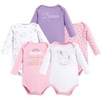 Hudson Baby® SIze 0-3M 5-Pack Unicorn Long Sleeve Bodysuits