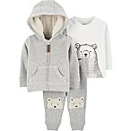 carter's® 3-Piece Ivy Bear 6M Hoodie, Shirt and Pants Set in Ivory