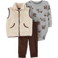 carter's® 3-Piece Ivy Bear Size 3M Sherpa Vest, Bodysuit and Pant Set