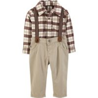 carter's® Newborn 3-Piece Flannel Shirt, Suspenders and Pant Set in Ivory