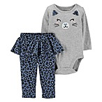 carter's Size 12M 2-Piece Cat Face Bodysuit and Cheetah Pant in Grey