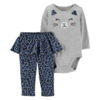 carter's Newborn 2-Piece Cat Face Bodysuit and Cheetah Pant in Grey
