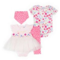 Nicole Miller NY Size 3-6M 4-Piece Floral Creeper, Pant and Bandana Set