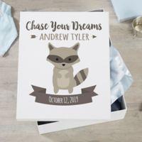 Woodland Adventure Raccoon Personalized Baby Keepsake Box