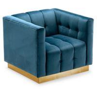 Chic Home Velvet Upholstered Vesna Chair in Teal