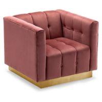 Chic Home Velvet Upholstered Vesna Chair in Rose