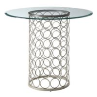 Tiffany 36-Inch Round Glass Top Accent Table in Champagne