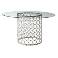 Tiffany 48-Inch Round Glass Top Accent Table in Champagne