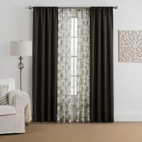 Marrakesh 4-Pack 63-Inch Rod Pocket Solid with Printed Voile Window Curtain Panels in Charcoal