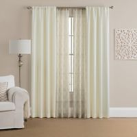 Morris Solid 4-Pack 84-Inch Rod Pocket Window Curtain Panels with Printed Voile in Beige