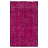 ECARPETGALLERY One of a Kind Color Transition 5'9 x 9'2 Hand-Knotted Rug in Raspberry