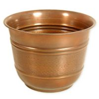 12-Inch Round Large Metal Planter in Antique Copper