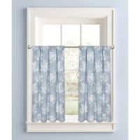 Cabbage Rose 45-Inch Window Curtain Tier Pair in Blue