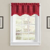 Constantine Rod Pocket Scalloped Window Valance in Red
