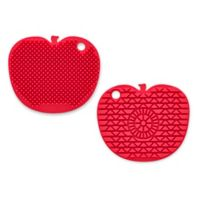 Silicone 2-Sided Scrubber Brush in Red Apple