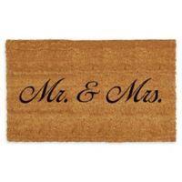 """Calloway Mills Mr & Mrs. 17"""" x 29"""" Multicolor Coir Door Mat in Natural/Black"""