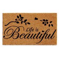"""Calloway Mills Life is Beautiful 17"""" x 29"""" Coir Door Mat in Natural/Black"""