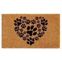 "Calloway Mills Heart Paws 17"" x 29"" Coir Door Mat in Natural/Black"