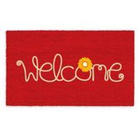 "Calloway Mills Flower Welcome 17"" x 29"" Coir Door Mat in Red/White"