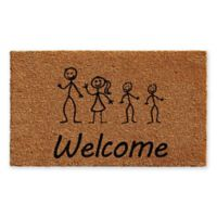 "Calloway Mills Stick Family with 2 Sons 18"" x 30"" Coir Door Mat"