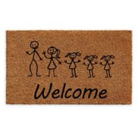 "Calloway Mills 3 Daughters Stick Family 24"" x 36"" Coir Door Mat in Natural/Black"