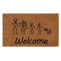 """Calloway Mills Sons and Dog Stick Family 24"""" x 36"""" Coir Door Mat in Natural/Black"""