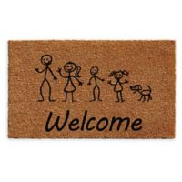 "Calloway Mills Son Daughter Dog Stick Family 24"" x 36"" Coir Door Mat"