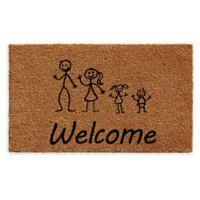 "Calloway Mills Daughter Baby Stick Family 24"" x 36"" Coir Door Mat in Natural/Black"