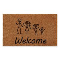 "Calloway Mills Stick Family with Daughter and Baby 24"" x 36"" Coir Door Mat"