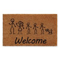"Calloway Mills Stick Family with 3 Sons and Dog 18"" x 30"" Coir Door Mat"