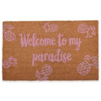 "Calloway Mills Welcome to my Paradise 17"" x 29"" Coir Door Mat in Pink/Natural"