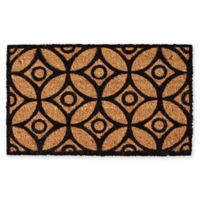 "Calloway Mills Circles and Stars 17"" x 29"" Coir Door Mat in Black/Natural"