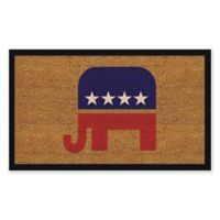 "Calloway Mills Elephant 17"" x 29"" Coir Door Mat in Red/Blue/Natural"
