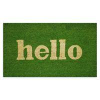 """Calloway Mills Hello 24"""" x 36"""" Coir Door Mat in Green/Natural"""